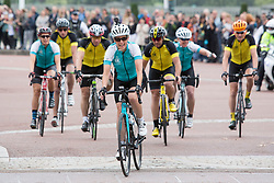 File photo dated 25/09/16 of the Countess of Wessex (centre) arriving in London at the end of a 450-mile cycling challenge from the Palace of Holyroodhouse in Edinburgh to Buckingham Palace in London, for her 'DofE Diamond Challenge' which marks the 60th anniversary of The Duke of Edinburgh's Award Scheme.