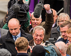 UKIP leader Nigel Farage visits Bolton on his party's Brexit battle bus tour encouraging voters to leave the EU in the referendum of June 23rd<br /> <br /> (c) John Baguley | Edinburgh Elite media