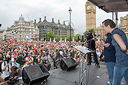 Francesca Martinez speaking at the People's Assembly Against Austerity 'End Austerity Now' demonstration attended by over 250,000 people on Saturday 20th of June 2015 sending a clear message to the Tory government; demanding an alternative to austerity and to policies that only benefit those at the top. London, UK.