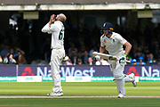 Nathan Lyon of Australia reacts after bowling a delivery which Ben Stokes of England edged for a boundary during the International Test Match 2019 match between England and Australia at Lord's Cricket Ground, St John's Wood, United Kingdom on 18 August 2019.