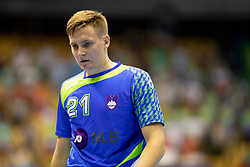 Domen Novak of Slovenia during handball match between National teams of Portugal and Slovenia in Semifinal of 2018 EHF U20 Men's European Championship, on July 27, 2018 in Arena Zlatorog, Celje, Slovenia. Photo by Urban Urbanc / Sportida