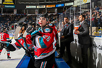 KELOWNA, BC - NOVEMBER 6:  Kelowna Rockets' head coach Adam Foote stands on the bench next to assistant coach Vernon Fiddler against the Victoria Royals at Prospera Place on November 6, 2019 in Kelowna, Canada. (Photo by Marissa Baecker/Shoot the Breeze)