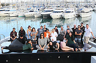ANTIBES, FRANCE - OCTOBER 16:   Tessa Schonder, Kesha, Chelcee Grimes, Molly King, Tayla Parx, Jully Zhu, Sacha Skarbek, Mitch Allen, Stuart Crichton, Captain Gary, Tushar Apte, James Newman, Matthew Simmons, Chad Richardson of Socan, Jamie Hartman, Nadja Sumter- Coquillard of The Invitational Group, Gary Go, Peter Coquillard, Erik Lewander and Jackie Gonzalez of The Invitational Group attend the Recording sessions at the Cross Creative lounge aboard the Bliss Yacht as part of Songwriting Invitational Group events on October 16, 2015 in Antibes, France. (Photo by Tony Barson/Getty Images for The Invitational Group)