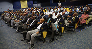 Atlanta - August 7, 2013: : Members of 100 Black Men of Atlanta sit with high school students as they listen to former Atlanta Mayor and United Nations Ambassador  Andrew Young speak on the first day of school at B.E.S.T Academy (Business Engineering Science Technology) on Wednesday, August 7, 2013.  Over 80 members of the 100 Black Men of Atlanta greeted the boys and their parents as they arrived at school.  The boys were inspired by Young to become leaders in their community.  Young spoke to boys in the middle school and high School.  The school is an all male school.  Today was the first day of school for students in Atlanta and Cobb County.  ©2012 Johnny Crawford