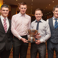 Jason McCarthy, Sean Maloney, Ciaran Devitt and Cathal Griffin, members of the Inagh/Kilnamona Junior A winning team receiving their medals on the night
