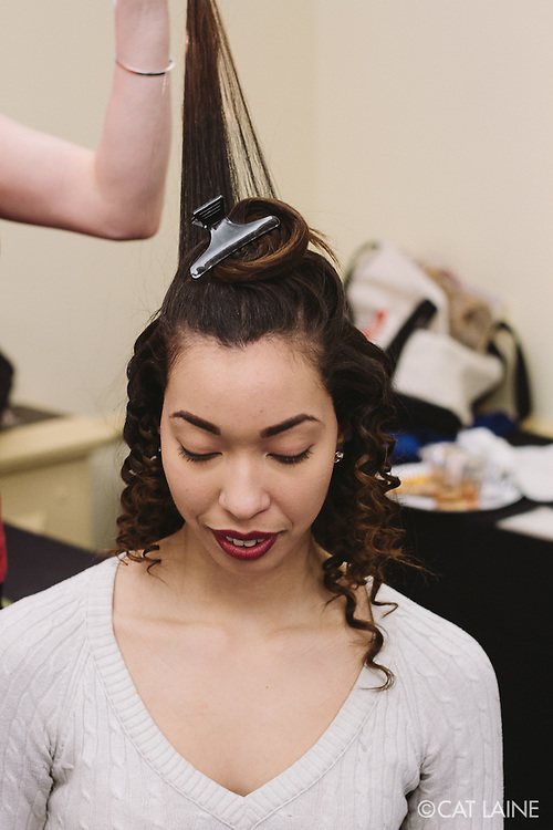 PROVIDENCE, RI - FEB 13: Sheila Sanchez backstage prior to the Alistair Archer show at StyleWeek NorthEast on February 13, 2015 in Providence, RI. (Photo by Cat Laine)
