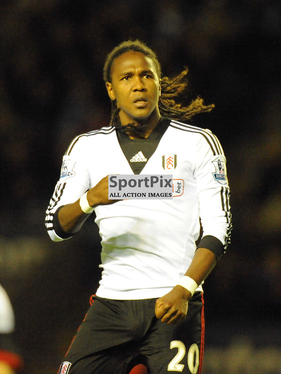 Fulham  Hugo Rodallega Celebrates his Goal at Leicester, Leicester City v Fulham, Capital One Cup, 29th October 2013