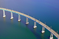 Aerial photograph of the Coronado Bridge in San Diego  Bay.