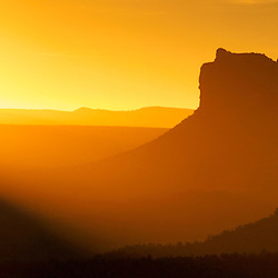 Sunrise over Sedona rock formations. Sedona, AZ.