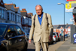 © Licensed to London News Pictures. 30/04/2016. London, UK. Former London mayor KEN LIVINGSTONE waiting at a bus stop after leaving his north London home to host his LBC radio show on Saturday, 30 April 2016 after being suspended from Labour Party amid anti-Semitism claims. Photo credit: Tolga Akmen/LNP