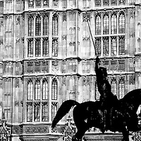 Ultra high contrast Black & White of Richard the Lionheart (Richard I) in front of the Houses of Parliament in London.