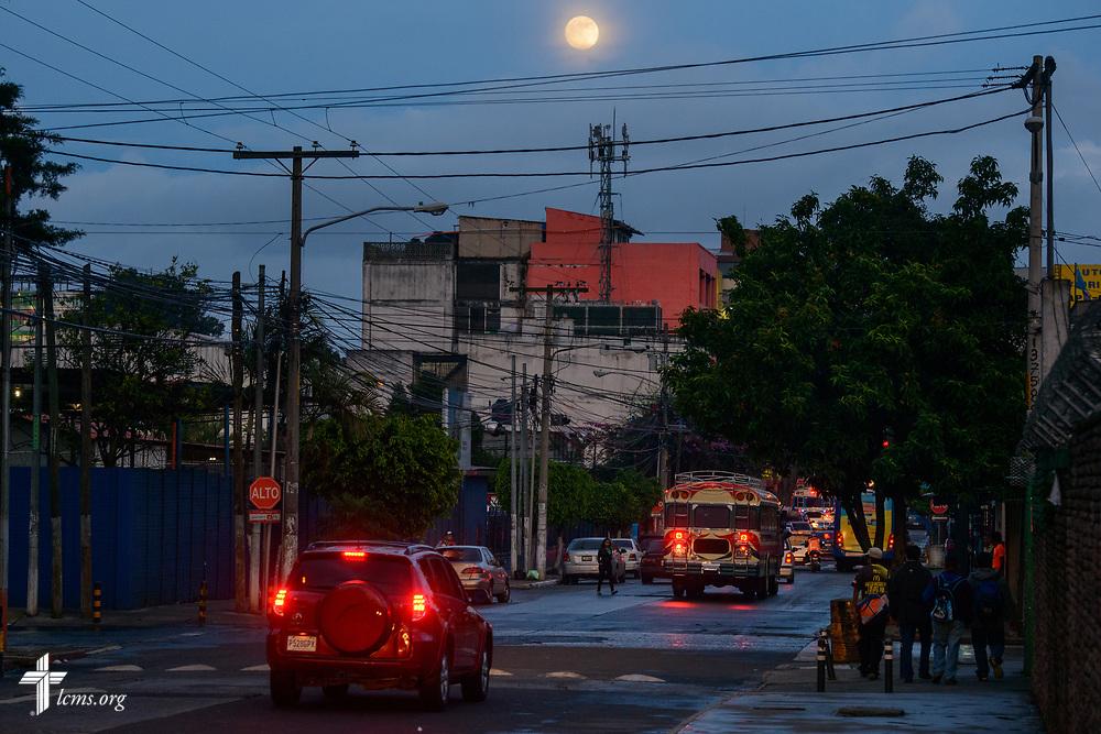 The moon rises on Wednesday, Oct. 4, 2017, in Guatemala City, Guatemala. LCMS Communications/Erik M. Lunsford