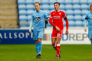 Coventry City forward Jordan Maguire-Drew (17), on loan from Brighton & Hove Albion,  and Swindon Town midfielder Ellis Iandolo (14)  during the EFL Sky Bet League 2 match between Coventry City and Swindon Town at the Ricoh Arena, Coventry, England on 20 January 2018. Photo by Simon Davies.