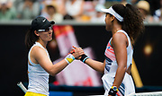 Saisai Zheng of China and Naomi Osaka of Japan at the net after their second round match at the 2020 Australian Open, WTA Grand Slam tennis tournament on January 22, 2020 at Melbourne Park in Melbourne, Australia - Photo Rob Prange / Spain ProSportsImages / DPPI / ProSportsImages / DPPI