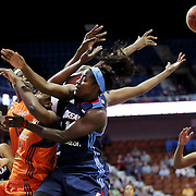 UNCASVILLE, CONNECTICUT- JUNE 3:   Matee Ajavon #10 of the Atlanta Dream, front, challenges for a rebound during the Atlanta Dream Vs Connecticut Sun, WNBA regular season game at Mohegan Sun Arena on June 3, 2016 in Uncasville, Connecticut. (Photo by Tim Clayton/Corbis via Getty Images)