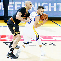 12 June 2017: Cleveland Cavaliers forward Richard Jefferson (24) defends on Golden State Warriors guard Stephen Curry (30) during the Golden State Warriors 129-120 victory over the Cleveland Cavaliers, in game 5 of the 2017 NBA Finals, at the Oracle Arena, Oakland, California, USA.