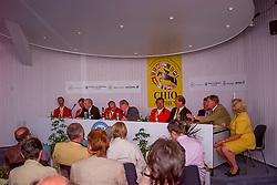 Press Conference, Team Belgium, Le Jeune Philippe, Lansink Jos, Van Dijck Marc, Philippaerts Ludo, Somers Lucien<br /> CHIO Aachen 2001<br /> © Hippo Foto - Dirk Caremans<br /> 15/06/2001