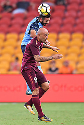 January 8, 2018 - Brisbane, QUEENSLAND, AUSTRALIA - Michael Zullo of Sydney (7, top) and Massimo Maccarone of the Roar (9) compete for the ball during the round fifteen Hyundai A-League match between the Brisbane Roar and Sydney FC at Suncorp Stadium on Monday, January 8, 2018 in Brisbane, Australia. (Credit Image: © Albert Perez via ZUMA Wire)