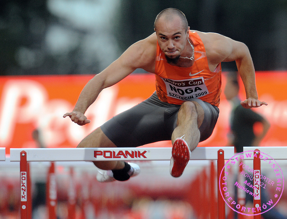 ARTUR NOGA (POLAND) COMPETES IN 110 METERS HURDLES HEAT DURING PEDRO'S CUP ATHLETICS MEETING IN SZCZECIN...SZCZECIN , POLAND , SEPTEMBER 15, 2009..( PHOTO BY ADAM NURKIEWICZ / MEDIASPORT )..PICTURE ALSO AVAIBLE IN RAW OR TIFF FORMAT ON SPECIAL REQUEST.