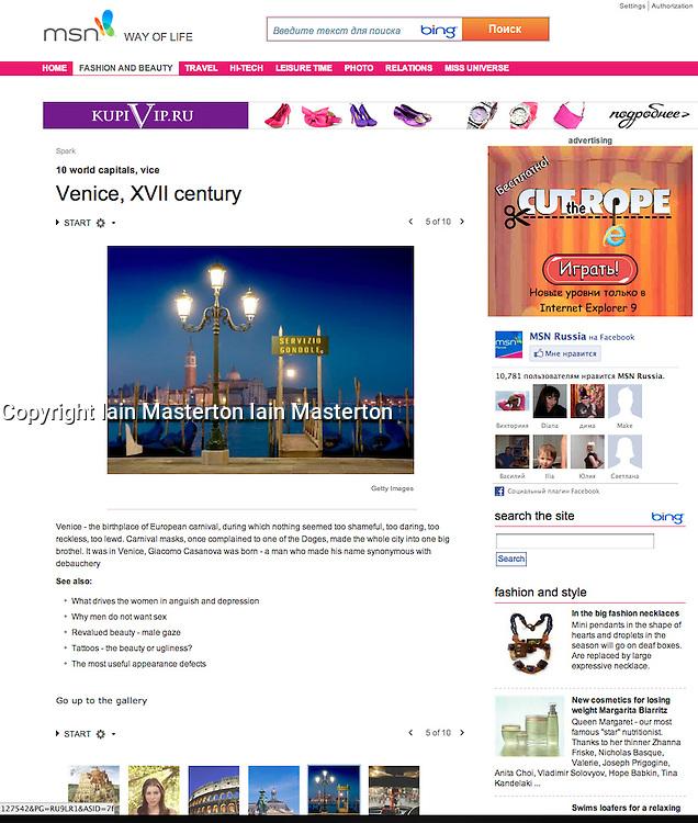 MSN website; Venice at night