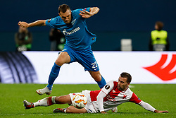 October 4, 2018 - Saint Petersburg, Russia - Artem Dzyuba (top) of FC Zenit Saint Petersburg and Josef Husbauer of SK Slavia Prague vie for the ball during the Group C match of the UEFA Europa League between FC Zenit Saint Petersburg and SK Sparta Prague at Saint Petersburg Stadium on October 4, 2018 in Saint Petersburg, Russia. (Credit Image: © Mike Kireev/NurPhoto/ZUMA Press)
