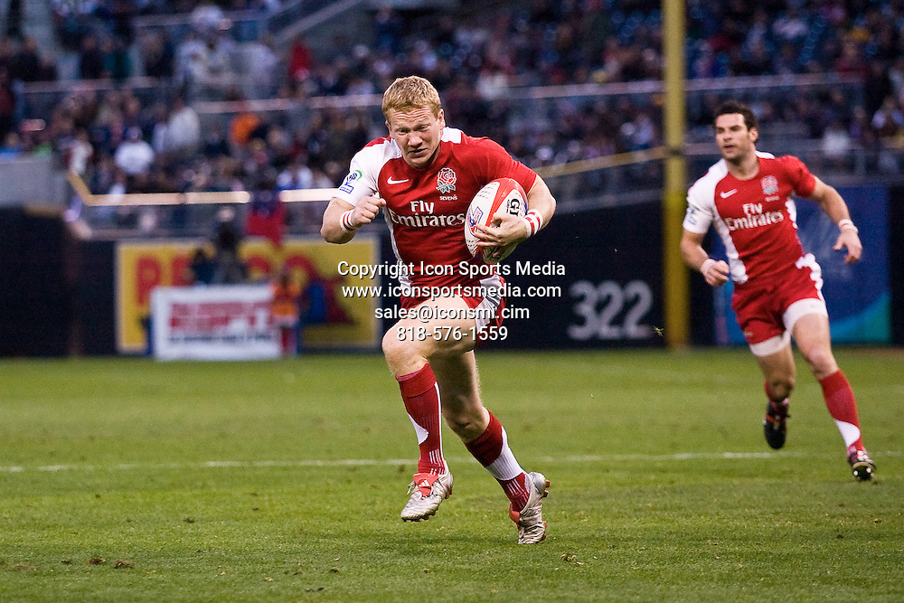 February 15, 2009:  England's Tom Biggs seen here attempting to score against Argentina in the Cup Final. England lost the final 19-14 at the 2009 IRG USA Sevens World Series at Petco Park in San Diego, California.