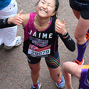 London, England, UK. 28 April 2019. Yan Ting from China finish the Virgin Money London Marathon at Pall Mall.
