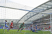 Cardiff City striker Joe Mason opens the scoring with a goal during the Sky Bet Championship match between Brighton and Hove Albion and Cardiff City at the American Express Community Stadium, Brighton and Hove, England on 3 October 2015. Photo by Phil Duncan.