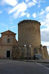 San Mauro Forte, Basilicata, Italy - The church of Annunziata and the Norman Tower