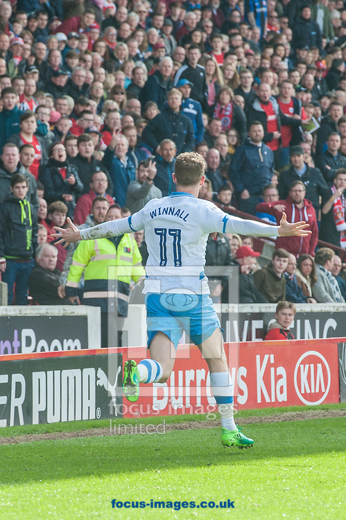 Sam Winnall of Sheffield Wednesday celebrates after scoring his sides first goal against his former club during the Sky Bet Championship match at Oakwell, Barnsley<br /> Picture by Matt Wilkinson/Focus Images Ltd 07814 960751<br /> 01/04/2017