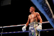 Josh Warrington during the Josh Warrington Sofiane Takoucht IBF featherweight title fight at First Direct Arena, Leeds, United Kingdom on 12 October 2019.