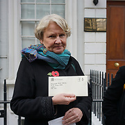 Helen Goodman Mp join protest on the Day to remember the dead in Mexico of the disappearance student in Mexico and around the globe on 2nd November 2017 outside Embassy of Mexico, London, UK