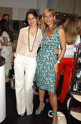 Left to right, KAREN GROSS and TANIA BRYER at a party to launch the Acqualuna jewellery exhibition at Allegra Hicks, 28 Cadogan Place, London on 22nd June 2005.<br /><br />NON EXCLUSIVE - WORLD RIGHTS
