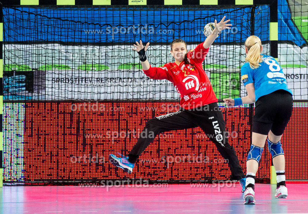 Nicole Roth of Leipzig vs Tamara Mavsar #8 of RK Krim Mercator during handball match between RK Krim Mercator (SLO) and HC Leipzig (GER) in 6th Round of Women's EHF Champions League 2014/15, on November 21, 2014 in Arena Stozice, Ljubljana, Slovenia. Photo by Vid Ponikvar / Sportida