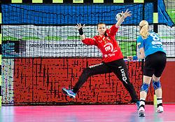 Nicole Roth of Leipzig vs Tamara Mavsar #8 of RK Krim Mercator during handball match between RK Krim Mercator (SLO) and HC Leipzig (GER) in 6th Round of Women's EHF Champions League 2014/15, on November 21, 2014 in Arena Stozice, Ljubljana, Slovenia. Photo by Vid Ponikvar / Sportida