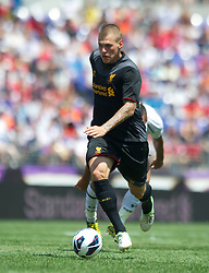 BALTIMORE, MD - Saturday, July 28, 2012: Liverpool's Martin Skrtel in action against Tottenham Hotspur during a pre-season friendly match at the M&T Bank Stadium. (Pic by David Rawcliffe/Propaganda)