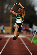 AMHERST, MA - MAY 3: Nhautrey Brown of George Mason University leaps during the women's long jump during Day 1 of the Atlantic 10 Outdoor Track and Field Championships at the University of Massachusetts Amherst Track and Field Complex on May 3, 2014 in Amherst, Massachusetts. (Photo by Daniel Petty/Atlantic 10)