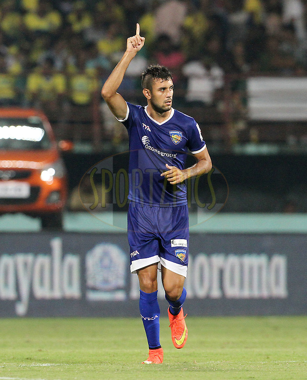 Bruno Augusto Pelissari de Lima of Chennaiyin FC celebrates a goal during match 45 of the Hero Indian Super League between Kerala Blasters FC and Chennaiyin FC held at the Jawaharlal Nehru Stadium, Kochi, India on the 30th November.<br /> <br /> Photo by:  Vipin Pawar/ ISL/ SPORTZPICS