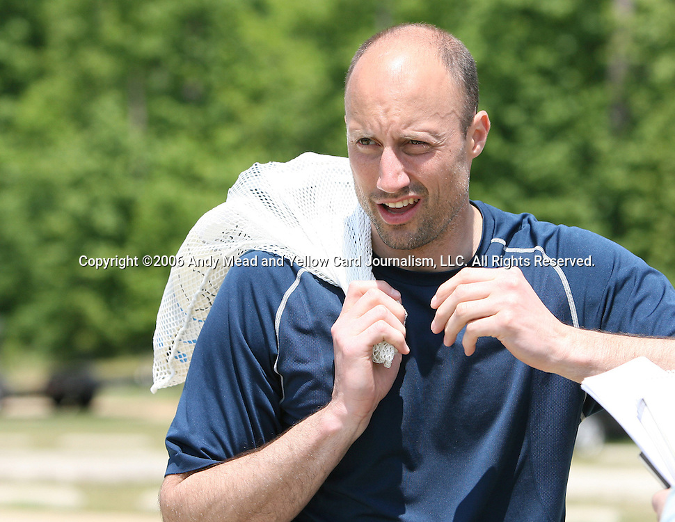 Kasey Keller talks with the media on Wednesday, May 17th, 2006 at SAS Soccer Park in Cary, North Carolina. The United States Men's National Soccer Team held a training session as part of their preparations for the upcoming 2006 FIFA World Cup Finals being held in Germany.