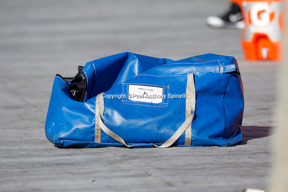 An Indianapolis Colts pregame ball bag lies on a tarp during the NFL week 16 football game against the Oakland Raiders on Sunday, December 26, 2010 in Oakland, California. The Colts won the game 31-26. (©Paul Anthony Spinelli)