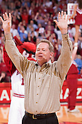 FAYETTEVILLE, AR - FEBRUARY 2:   New Head Football Coach Bobby Petrino of the Arkansas Razorbacks is introduced and calls the Hogs during a game against the Florida Gators at Bud Walton Arena on February 2, 2008 in Fayetteville, Arkansas.  The Razorbacks defeated the Gators 80-61.  (Photo by Wesley Hitt/Getty Images) *** Local Caption *** Bobby Petrino