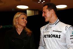 STUTTGART, GERMANY - Monday, January 25, 2010: Drivers Michael Schumacher and his wife Corinna Betsch during the Mercedes GP Petronas Formula One Team presentation at the Mercedes-Benz Museum. (Pic by Juergen Tap/Hoch Zwei/Propaganda)