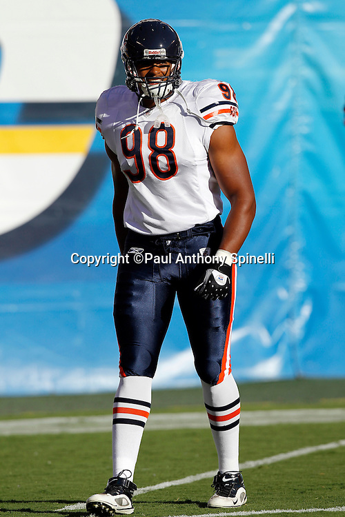 Chicago Bears rookie defensive end Corey Wootten (98) looks on during a NFL week 1 preseason football game against the San Diego Chargers, Saturday, August 14, 2010 in San Diego, California. The Chargers won the game 25-10. (©Paul Anthony Spinelli)