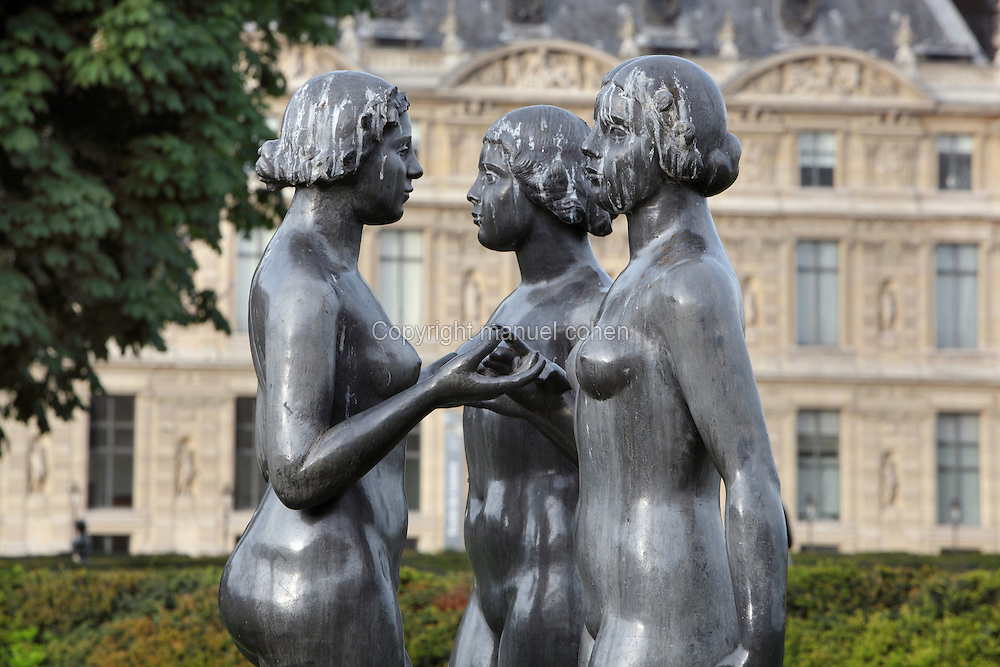 Les trois Graces (The three Graces), lead, 1938, by Aristide Maillol (1861-1944), at the Tuileries Gardens since 1965, Paris, France. Picture by Manuel Cohen