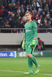 November 1, 2017 - Piraeus, Attica, Greece - Barcelona's German goalkeeper Marc-Andre Ter Stegen during the UEFA Champions League group D football match between FC Barcelona and Olympiakos FC at the Karaiskakis stadium in Piraeus near Athens on October 31, 2017. (Credit Image: © Wassilios Aswestopoulos/NurPhoto via ZUMA Press)