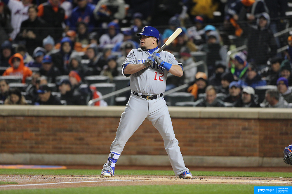 Kyle Schwarber, Chicago Cubs, batting during the MLB NLCS Playoffs game two, Chicago Cubs vs New York Mets at Citi Field, Queens, New York. USA. 18th October 2015. Photo Tim Clayton