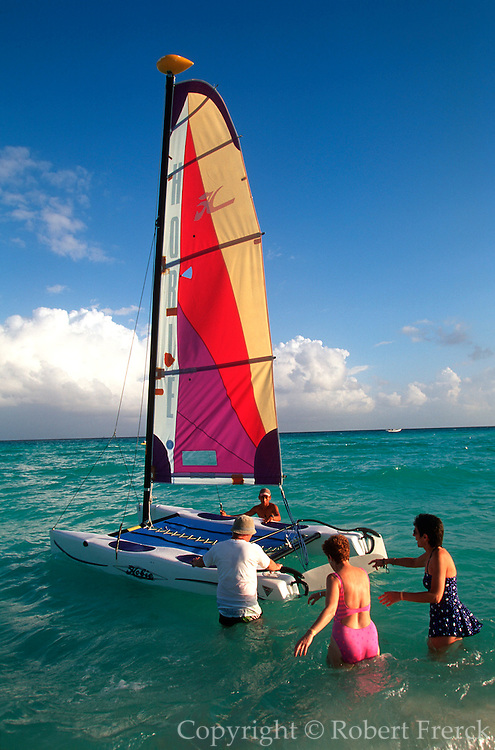 MEXICO, YUCATAN, TOURISM 'Riviera Maya; sailboats on beach