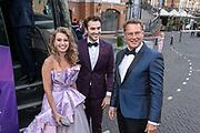 2019, August 13. Grand Hotel Amrath Kurhaus, Scheveningen, The Netherlands. Tessa Sunniva van Tol, Milan van Waardenburg and Albert Verlinde at the  state banquet to celebrate the start of the rehearsals for the Anastasia musical.
