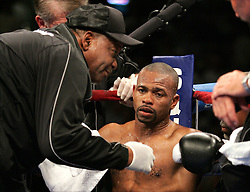 Roy Jones Jr. on his stool during his third fight against Antonio Tarver for the World Light Heavyweight Championship at the St. Pete Times Arena in Tampa, FL.