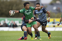 September 23, 2017 - Galway, Ireland - Bundee Aki of Connacht tackled by Steven Shingler of Cardiff during the Guinness PRO14 Conference A match between Connacht Rugby and Cardiff Blues at the Sportsground in Galway, Ireland on September 23, 2017  (Credit Image: © Andrew Surma/NurPhoto via ZUMA Press)
